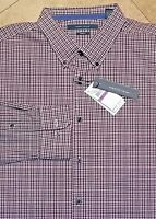 *NWT Perry Ellis Long Sleeve Button Front Shirt Cotton Blend Plaid Red 2XL Mens