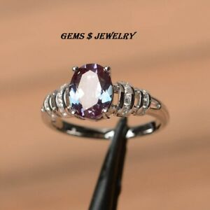 alexandrite ring wedding ring June birthstone ring oval cut color changing gem