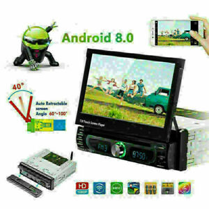 "Auto-Retractable 7"" HD Screen 1-DIN Car MP5 Bluetooth DVD Player Navigation Kit"