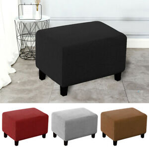 Checked Jacquard Bedroom Stretch Soft Rectangle Footstool Ottoman Cover Elastic