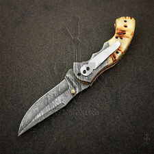 Handmade Damascus Steel Liner Lock Pocket Folding Knife High Quality VK2108