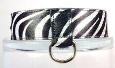 "Leather Dog Collar Metallic Silver and black zebra stripe 1.25"" H x 12-16"" L"