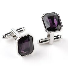 Purple Stone Cufflinks Formalwear Wedding Square Prom Party UK Seller Free Post