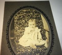 Antique Adorable American ID'd Boy Forrest Fisk! Sucking Thumb Cabinet Photo! US