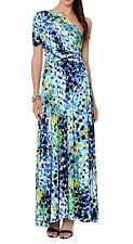 VON VONNI Womens Blue-Green Abstract Transformer Dress Long One Size VVL101 $120