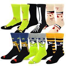 TeeHee Novelty Cotton Fun Crew Socks 6-Pack Skeleton Bone's Cuts & Monster foot