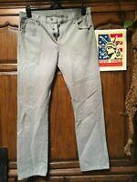 Levi's 501 Jeans Light Grey Distressed Faded Hippie Boho punk Denim 34x34
