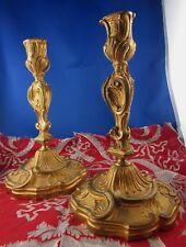 ancien paire de bougeoirs flambeaux bronze st louis XV rocaille doré epoque XIXe