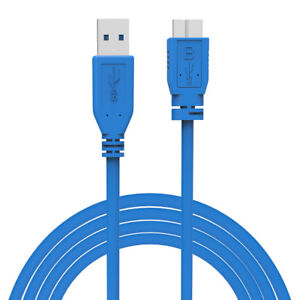 USB 3.0 Type A Male to Micro B Male Data Cable Lead - Super Fast Speed - Blue