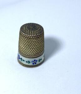 Gabler silver gilt thimble with enamel border of flowers