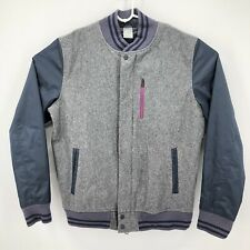 Nike Tech Wool Destroyer Mens Large Gray Varsity Bomber Jacket