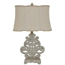 French Shabby Vintage Chic Polkadot Fluted White Bedside Lamp w Shade in  Home, Furniture &