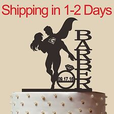 Personalized Superman and bride Cake Topper,Wedding Gift,Acrylic,Made in USA 6''