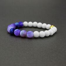Unisex Fashion Natural 8mm Round Agate Gemstone Beads Stretch Handmade Bracelets