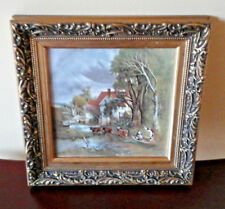 Staffordshire Enamel Wall Plaque Country Landscape Baroque Rococo Style Frame