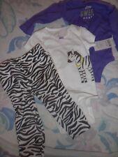 nwt carters 3 piece zebra  top pants set baby girl 6 m free ship US