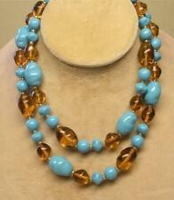 "SIGNED JOAN RIVERS GOLD PLATED TURQUOISE & AMBER GLASS BEAD 30"" NECKLACE NEW"