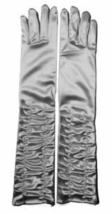New Women Silver Satin Ruched Top Long Gloves Wedding Xmas Fancy Party Accessory