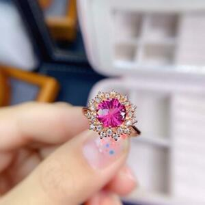 2 CT Round Cut Pink Sapphire Halo Womens Cluster Ring 14K Rose Gold Finish