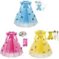 Kid Girl Princess Party Cinderella Dress Halloween Cosplay Costume  Xmas