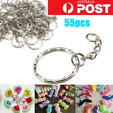 55Pcs Bulk Split Metal Key Rings Keyring Blank With Link Chain For DIY Craft