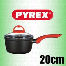 PYREX Granate 20cm Cast Aluminium Non-Stick Induction Saucepan w/ Glass Lid