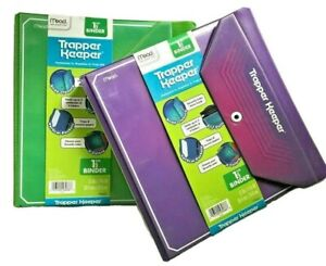 "2 Mead TRAPPER KEEPER Purple Green 1.5"" 3 Ring Binder 2013 Vertical Pockets Lot"