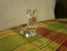 "Vintage Small Clear Glass Bunny Rabbit Goebel 1981 Figurine ~1-7/8"" Tall!"