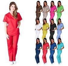 MD Medical Women Scrub Set NATURAL UNIFORMS Size XS - 3XL Mock Wrap top & pants