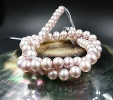 AAA FRESHWATER 6.8-7.8mm IRIDESCENT PURPLE PINK SMOOTH PEARLS 16""