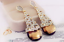 Super Sparkling Sunflower! Gold GP Citrine Cubic Zirconia Party Earring