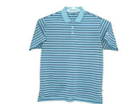 ADIDAS Mens Polo Golf Shirt Size Large Striped Blue Casual