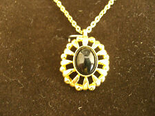 22ct GOLD CLAD  PENDANT WITH REAL ONYX 6 by 8mm GEM,