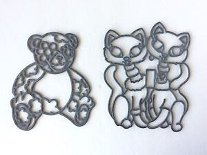 Vintage Craft Metal Outline - Sun catcher Stainglass Craft- Cats & Bear