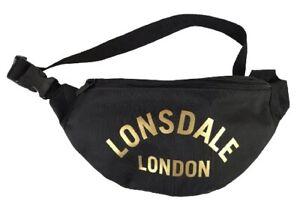 Lonsdale London Black & Gold Bum Bag New