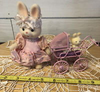 Enesco Momma Flocked Bunny Rabbit With Baby Stroller Two Babies Vintage With Box