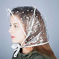 LARGE PATTERNED RAIN HAT | Ladies Polkadot Hair Protector Hood/Bonnet + Neck Tie