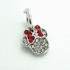 1 minnie mouse red clear rhinestone European Charm Bead Fit  Bracelet fr07