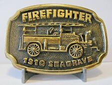 Firefighter 1910 Seagrave Aerial Fire Man Truck Engine Brass Belt Buckle BTS
