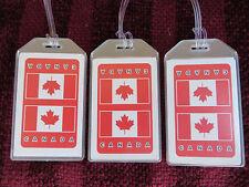 CANADA MAPLE LEAF FLAG MIRRORED LUGGAGE TAGS 3-PACK SET - BAG NAME TRAVEL ID