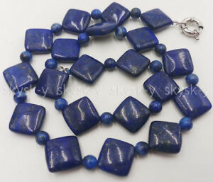 """Natural 14x14mm 6mm Blue Lapis Lazuli Gemstone Beads Necklaces 16-30"""" Inches"""