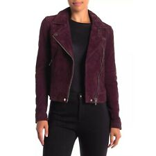 BLANKNYC Suede Moto Biker Asymmetric Jacket Leather Coat Plum Burgundy Sz S $200
