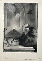 Viggo Jastrau 1857-1946 Aquarell Mönch mit Heiliger Maria & Jesus datiert 1893