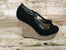 """G by GUESS """"PAIJE"""" Shoes Black Suede/Glitter WEDGES 8.5 US 39 EURO NYE"""