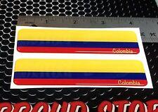 "Colombia Flag Proud Domed Decal Car Emblem Flexible 3D 4""x1"" Set of 2 Sticker"