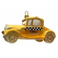 Vintage Yellow Taxi Car Polish Glass Christmas Tree Ornament Made in Poland