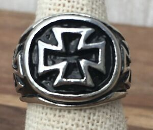 Men's Stainless Steel Iron Cross Ring Small Size O 1/2