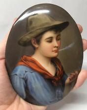 Rare Antique German Piccolo After Blaus Hand Painted Porcelain Plaque Gypsy Boy