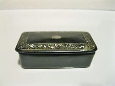 ANTIQUE GUTTA PERCHA SNUFF BOX MOTHER OF PEARL INLAY SIGNED W GERMANY