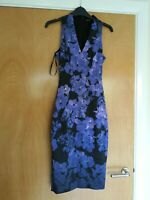 Ladies KAREN MILLEN Dress Size 6 Black Purple Wiggle Pencil Smart Party Evening